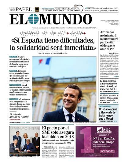 Interview d'Emmanuel Macron dans le journal El Mundo ...