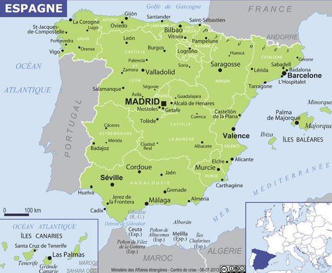 Carte De Lespagne Barcelone.Carte De L Espagne Ambassade De France En Espagne Embajada De