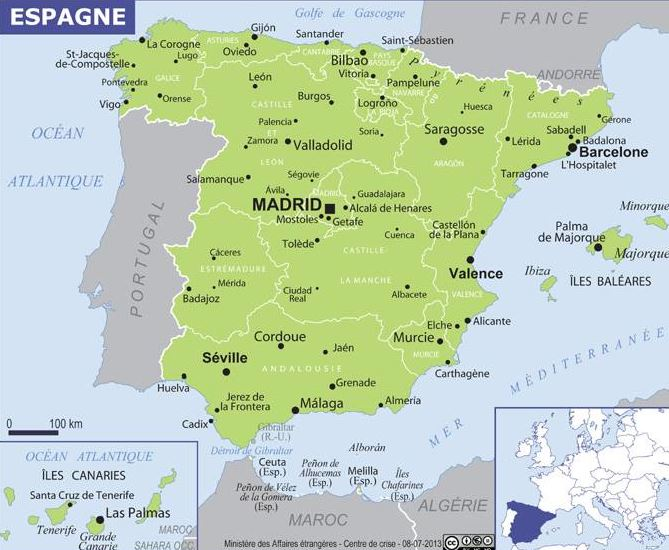 Carte De L Espagne Ambassade De France En Espagne Embajada De Francia En Espana